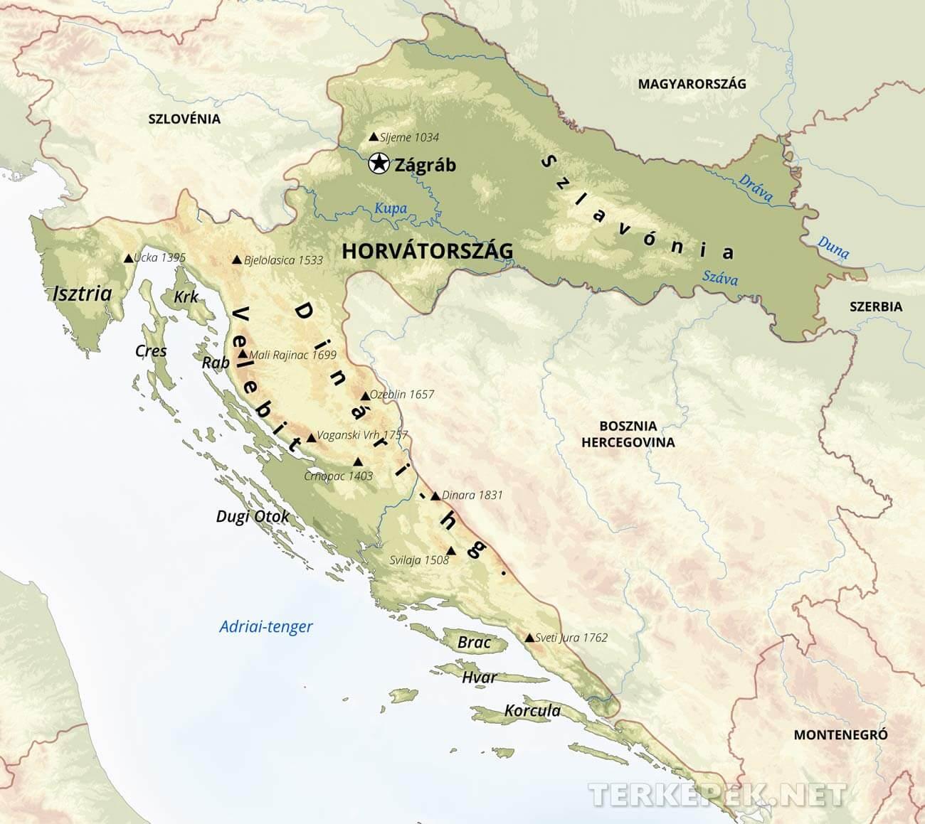 domborzati térkép horvátország Horvátország térképek domborzati térkép horvátország