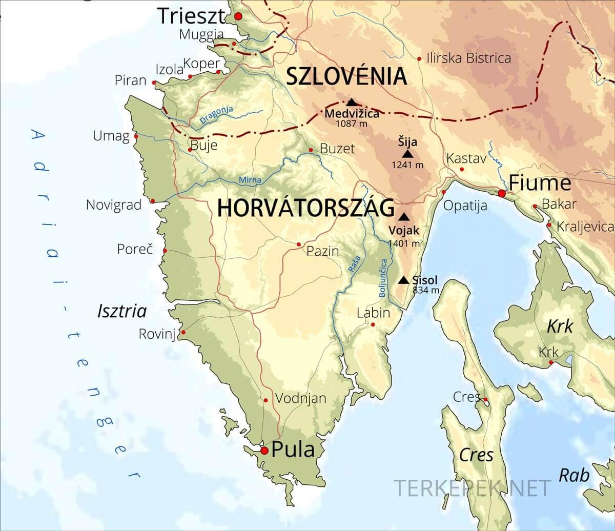 domborzati térkép horvátország Isztria domborzati térképe domborzati térkép horvátország